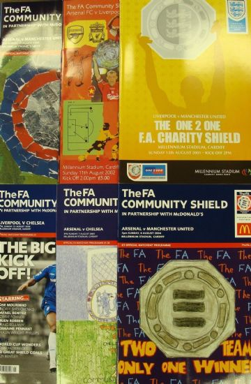 Complete set of FA COMMUNITY SHIELD PROGRAMMES whilst Wembley was being rebuilt 2001 to 2006
